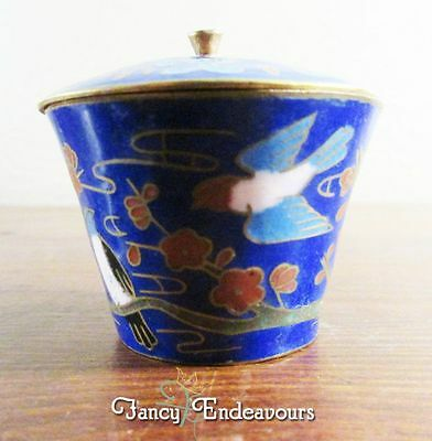 Miniature Chinese Enamel Cloisonne Covered Bowl with Blue Birds
