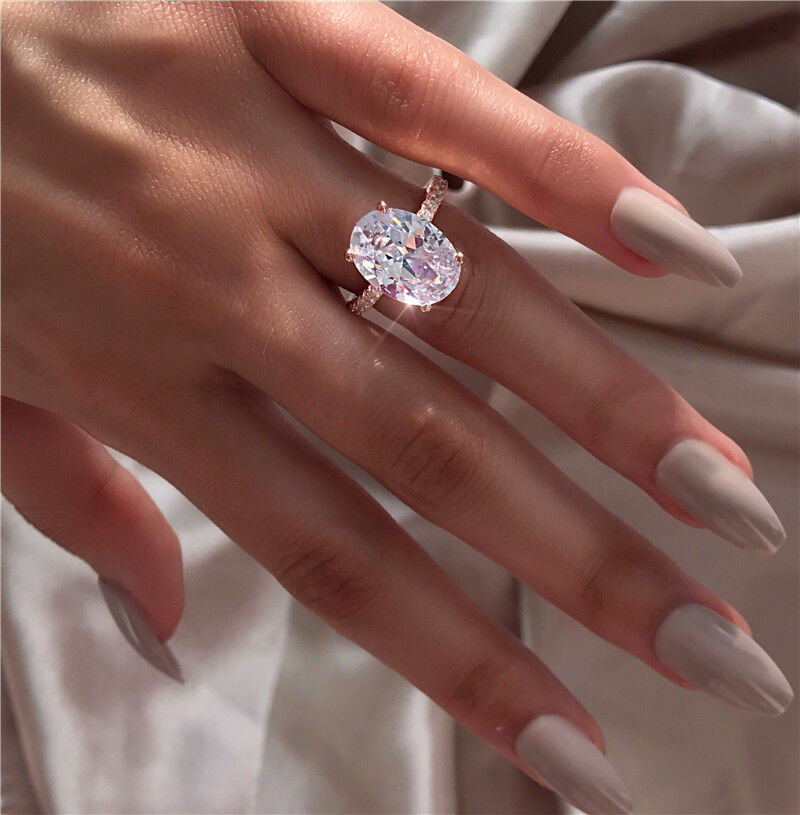 Solitaire ring Rose Gold Filled Oval 3ct cz Party Wedding Ba