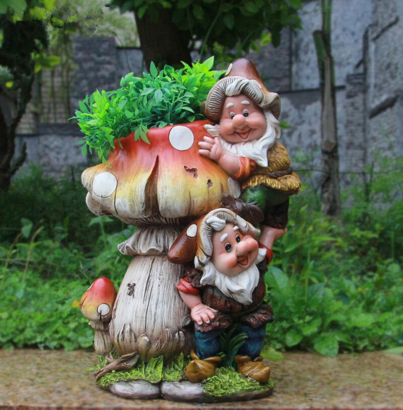 Design Zwerg Pilz mit Blumentopf BL15199 32 cm Hoch Deko Garten Gartenzwerg
