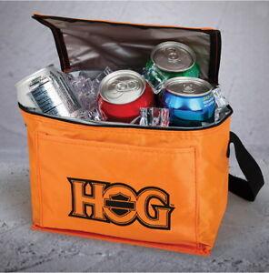 ORANGE HARLEY DAVIDSON OWNERS GROUP INSULATED COOLER BAG LUNCH BOX HOG