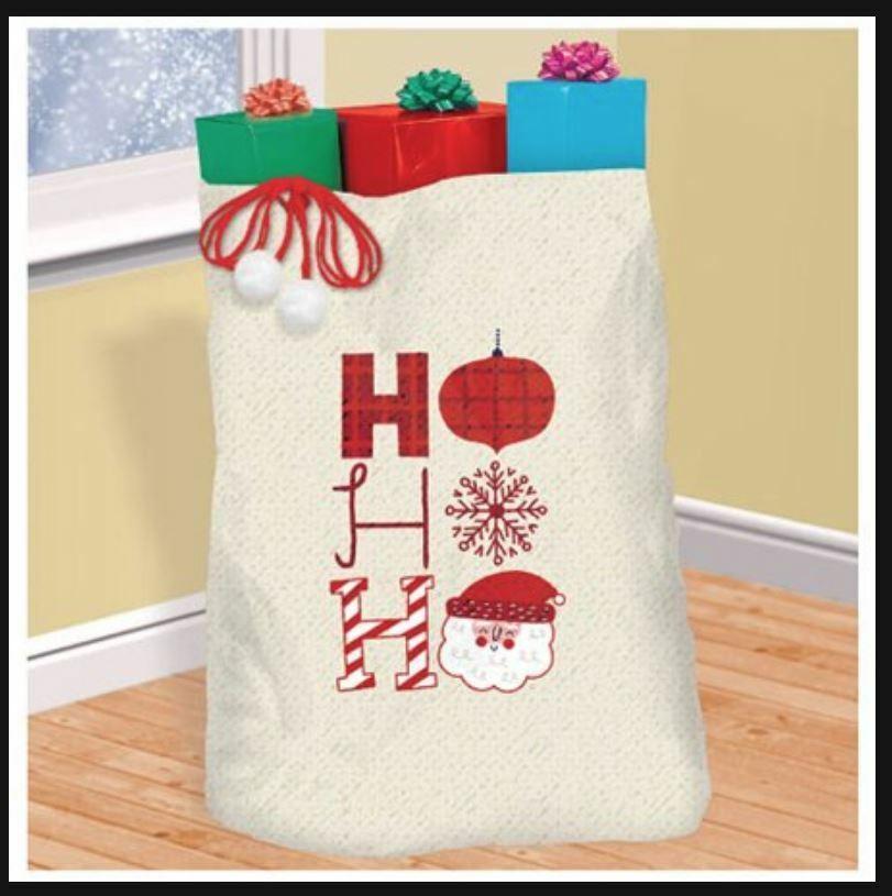 Large Amscan Christmas Sack Canvas Fabric Christmas Stocking