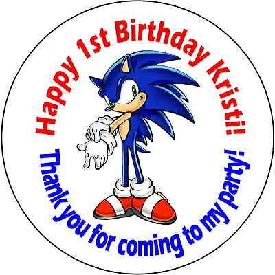 48 stickers 1.67 Inch Personalized round birthday party sonic the hedgehog - Sonic The Hedgehog Birthday