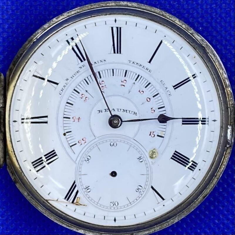 1850 Reaumer Pocket Thermometer Watch Monaro Geneve RARE Key Wind Antique Silver