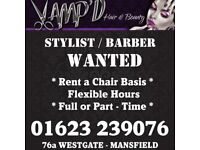 HAIR STYLIST/BARBER CHAIR TO RENT IN BUSY TOWN SALON - MANSFIELD