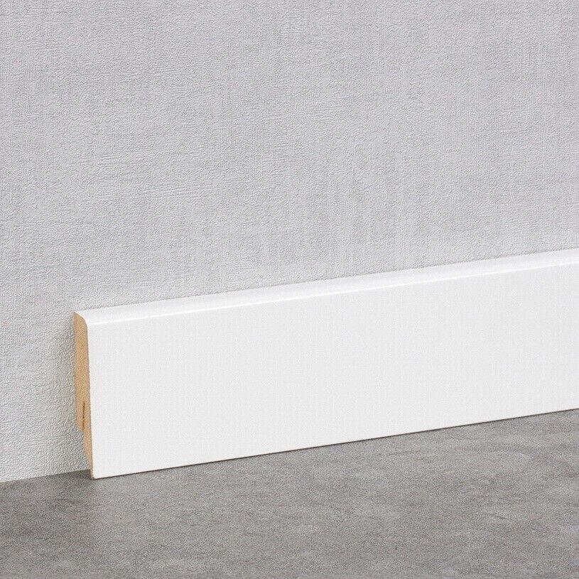 Sockelleiste weiß 58mm Cube K58C Fußleiste Vinyl Laminat Parkett Clips Ecken