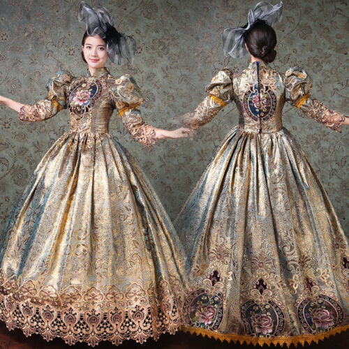 Women Medieval Marie Antoinete Rococo Victorian Long Dress Mary Party Costume