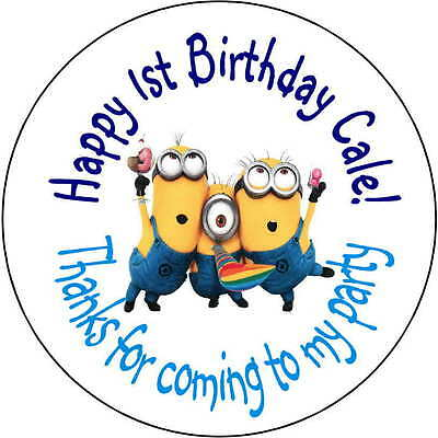 48 stickers Birthday Party 1.6 Inch Personalized minion lollipop labels shower - Birthday Minion