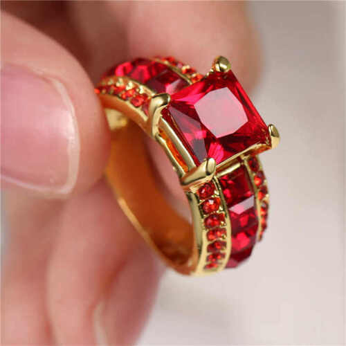 Woman's Size 7 Red Ruby 18KT yellow Gold Filled Ring For Wed