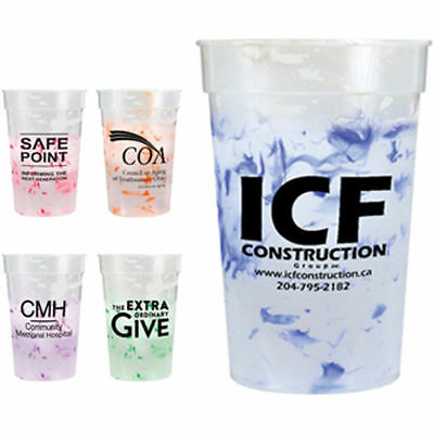250 Personalized Confetti Mood Stadium Cups - Custom Wholesale Bulk - Personalized Disposable Cups