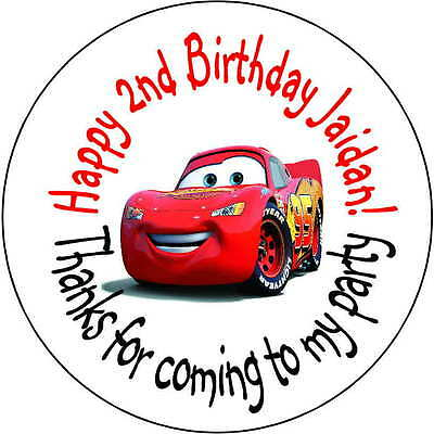 48 stickers Birthday Party 1.6 Inch Personalized lollipop Lightning McQueen cars - Lightning Mcqueen Party