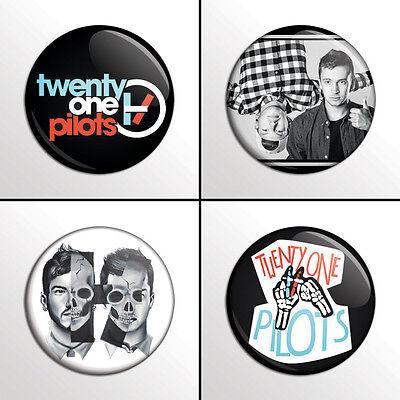 "4-Piece (21) Twenty One Pilots 1"" Band Pinback  Buttons / Pins / Badges Set"
