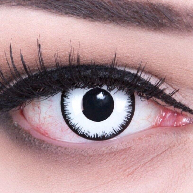 Gruselige weiße Zombie Kontaktlinsen für Fasching Halloween Modell: Lunatic