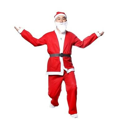 Christmas Santa Claus Costume Xmas Suit Hat Coat For Adult Father Size Full Set (Santa Claus Costumes For Adults)