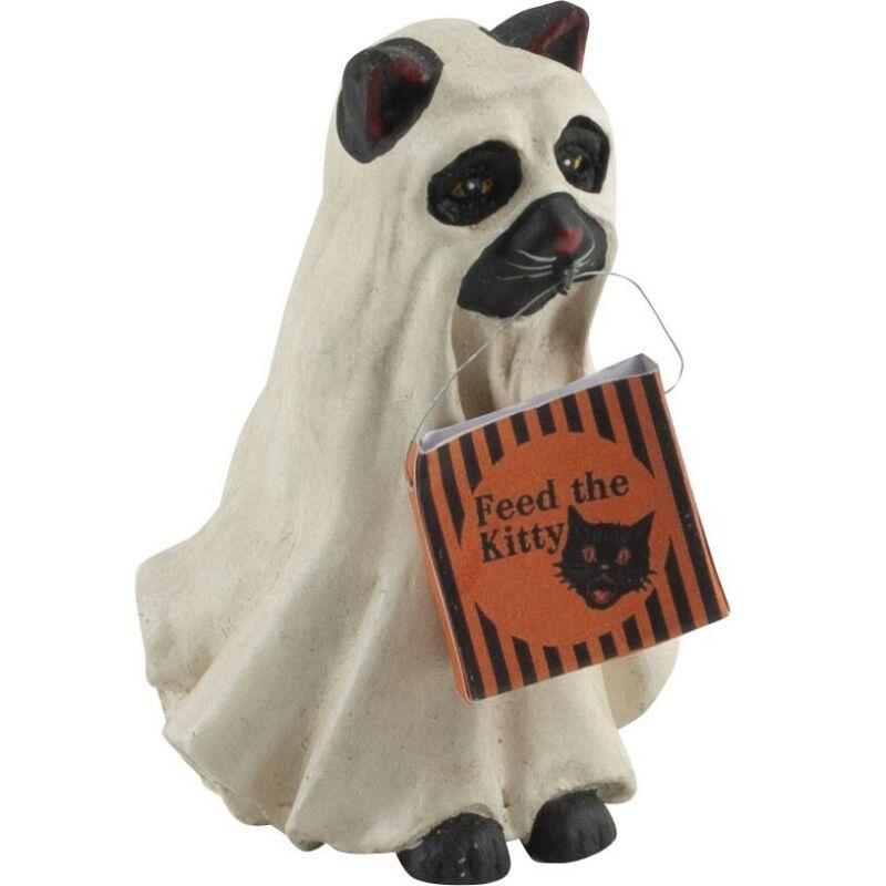 Bethany Lowe Halloween Spooky Ghost Black Cat Kitty Figure Trick or Treater