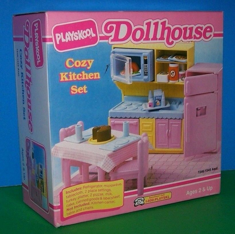New 1991 playskool doll house cozy kitchen food microwave for Playskool kitchen set