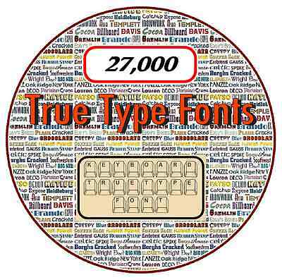 True Type Fonts on CD - 27,000 - Scrapbooking, Flyers, Calenders, Invitations