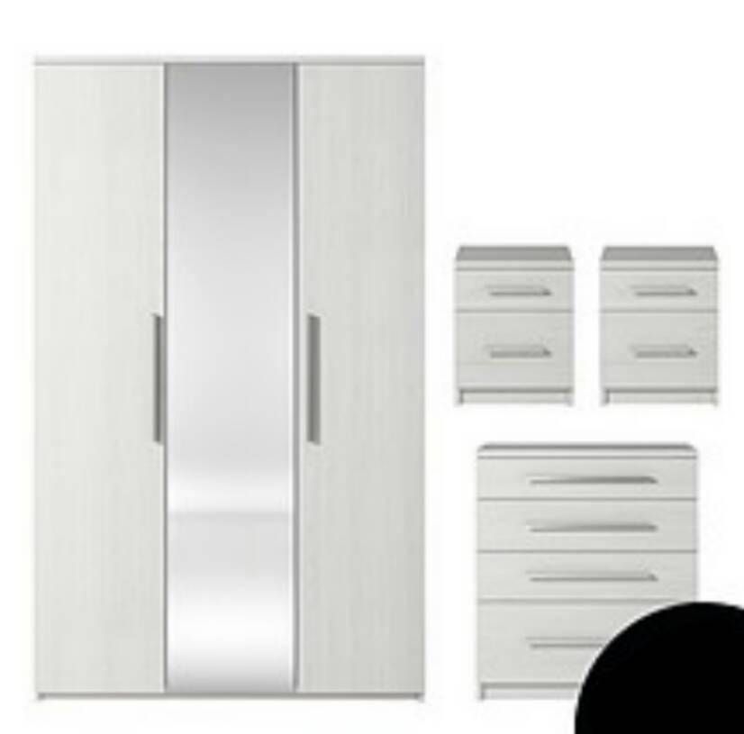 Bon Prague 4 Piece Package   3 Door Mirrored Wardrobe, 4 Drawer Chest U0026 2
