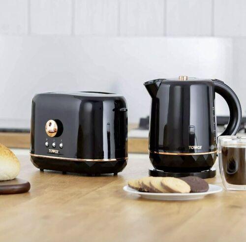 Tower Jug Kettle & 2 Slice Toaster Set Black & Rose Gold NEW