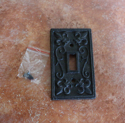 Design Single Outlet Switchplate Cover - Cast Iron Single Switch Plate Cover Old World Rustic fleur-de-lis design Outlet
