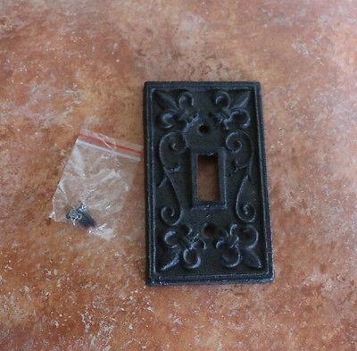 Design Public Outlet - Cast Iron Single Switch Plate Cover Old World Rustic fleur-de-lis design Outlet