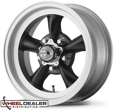 "15x8"" BLACK AMERICAN RACING TORQ THRUST D WHEEL FOR 5x4.75"" GM CLASSIC CAR"