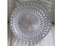 "Large, heavy, decorative GLASS BOWL - 8.5"" diameter, 3.5"" high,raised diamond design base, g.c."