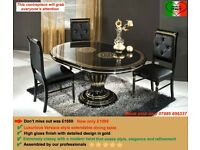 VERSACE DESIGN ROSSELLA ITALIAN DINING TABLE WITH EMBEDDED CRYSTAL CHAIRS