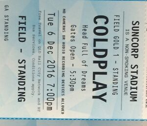 Coldplay ticket gold standing area 1 $160 Sunnybank Hills Brisbane South West Preview