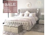 *** Oxford Crushed Velvet Bed *** All Sizes Available/Colours Available