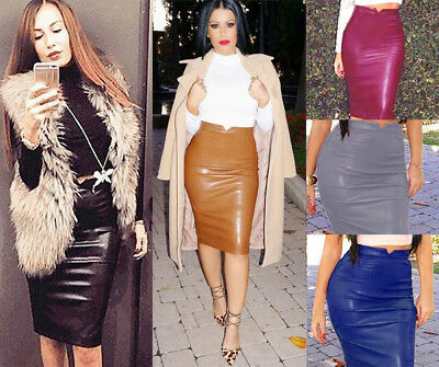 Leather Package - Sexy Women Ladies PU Leather Package Hip Slim Pencil High Waist Mini Short Skirt