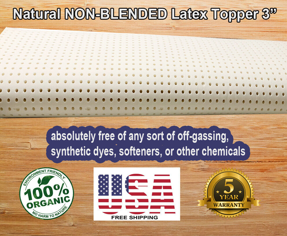 """Organic Textiles Natural NON-BLENDED Latex Topper 3"""" 