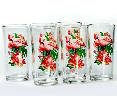 6 Tall Drinking Glasses with Pink Flamingos Decal 8 fl oz Highball (Pink Flamingo Glasses)