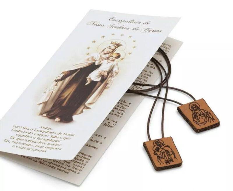 Sacred Heart of Jesus Christ Virgen of Mt. Carmel Leather Scapular escapulario