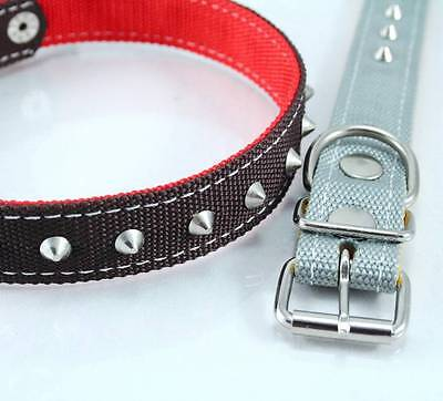 NYLON SPIKED DOG COLLAR PET BUCKLE STAINLESS HARDWARE VARIOUS SIZE