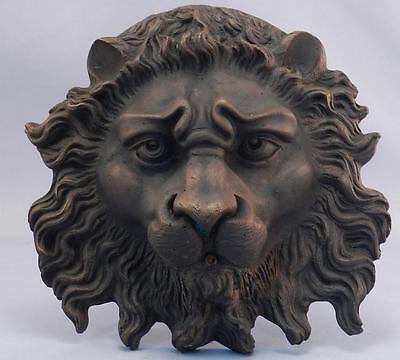 Antique BRONZE Lion Head Plaque~Garden Water Fountain~Architectural Salvage