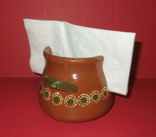 Tlaquepaque Mexican Pottery Barro Redware Red Clay Napkin Holder Large Flowers