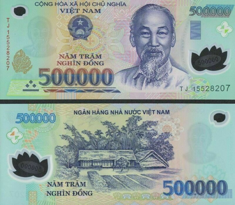 500,000 VIETNAMESE DONG VND Bank Note Uncirculated for Collectors - CRISP Note