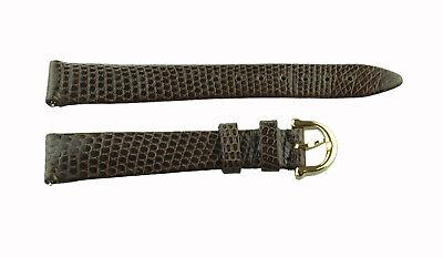 Maurice Lacroix Uhrenband Leder Eidechse 15 mm Braun neu Dorn goldfarben