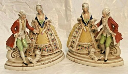 PAIR OF PORCELAIN FIGURINES ELEGANT BAROQUE COUPLE with dog