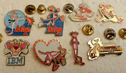8 Pink Panther Cartoon Comic Pins Lapel pin lot IBM Axion 2 Advertising