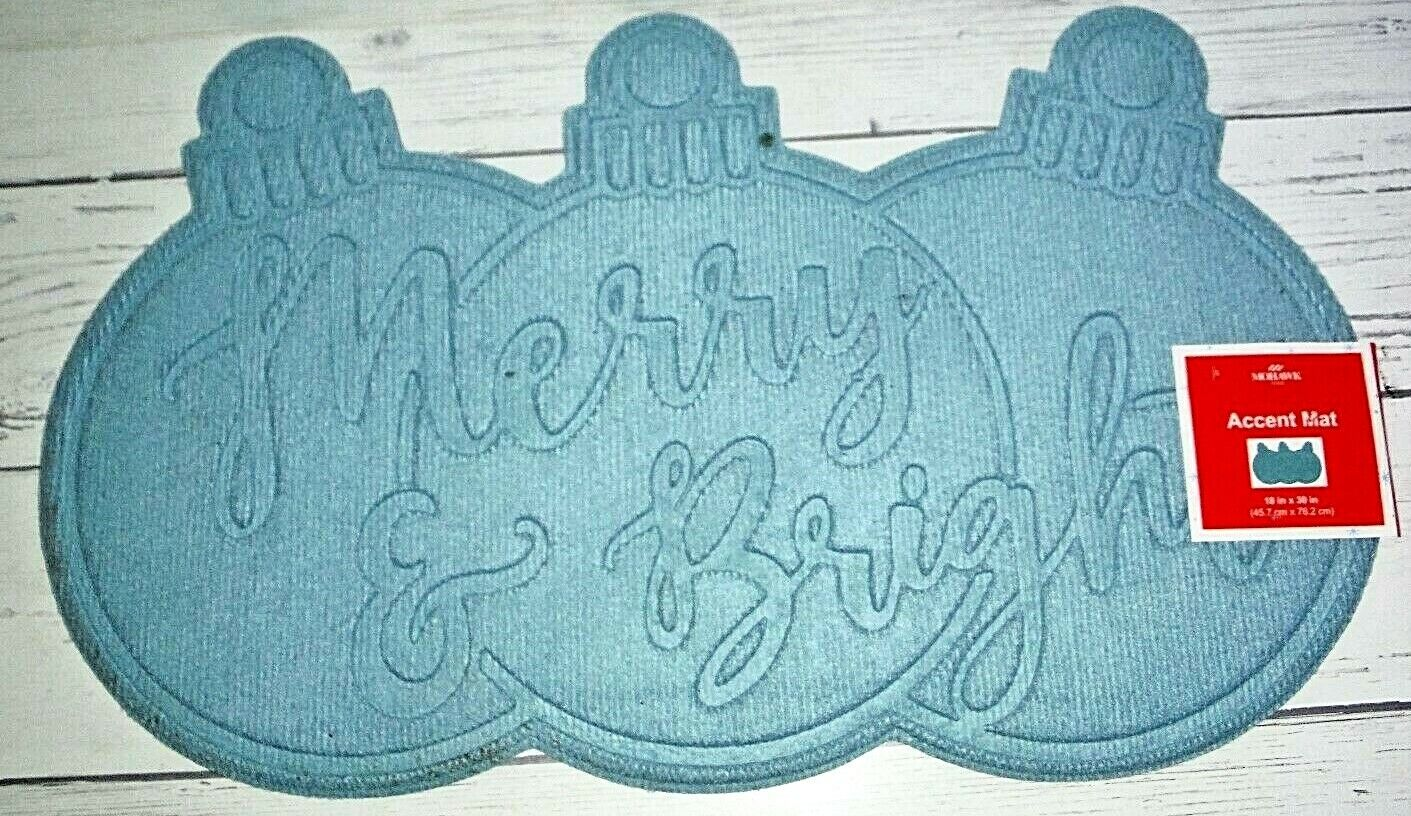 "New Blue Mohawk Home Merry & Bright Christmas 18"" x 30"" Heav"