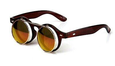 Flip Up Lens Steampunk Round Sunglasses Shades Mens Womens Fashion Brown Mirror