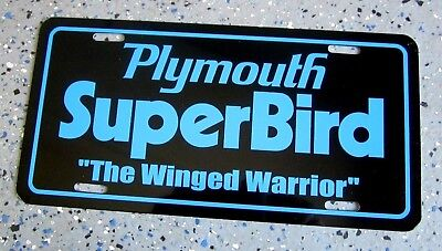 1970 Plymouth Superbird license plate car tag Road Runner Super BIRD petty blue