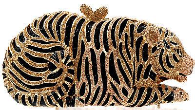 (XL Evening luxury crystal clutch purse full rhinestone bag Gold TIGER US seller)