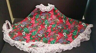 "Vintage Christmas Tree Skirt Handmade Stitched 41"" Diameter 1960's Multi Colors"