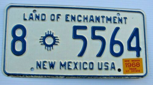 """MINT 1968 NEW MEXICO TRUCK LICENSE PLATE """" 8  5564 """" NM 68 GRANT CO  SILVER CITY"""