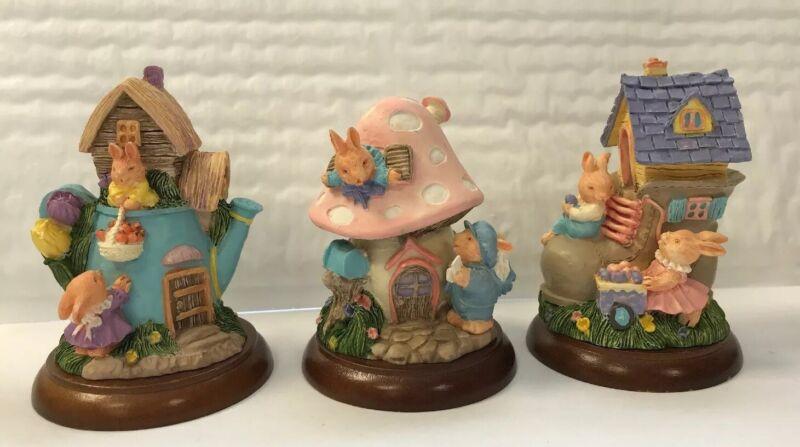 Ganz Resin Figurines - Lot of 3 Easter/Spring Bunny Vignettes
