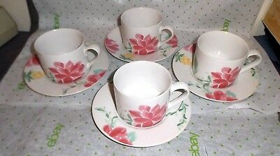 Set of 4 Cups & Saucers International Tableworks Mystique 089-01 Stoneware