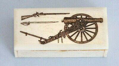 19th C Hand Carved Trinket or Snuff Box Military Sword Cannon