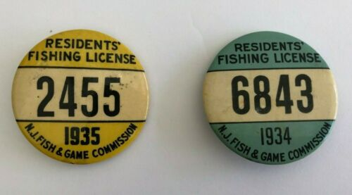 1934 & 1935 Fishing License Resident Button PINS ( RARE)